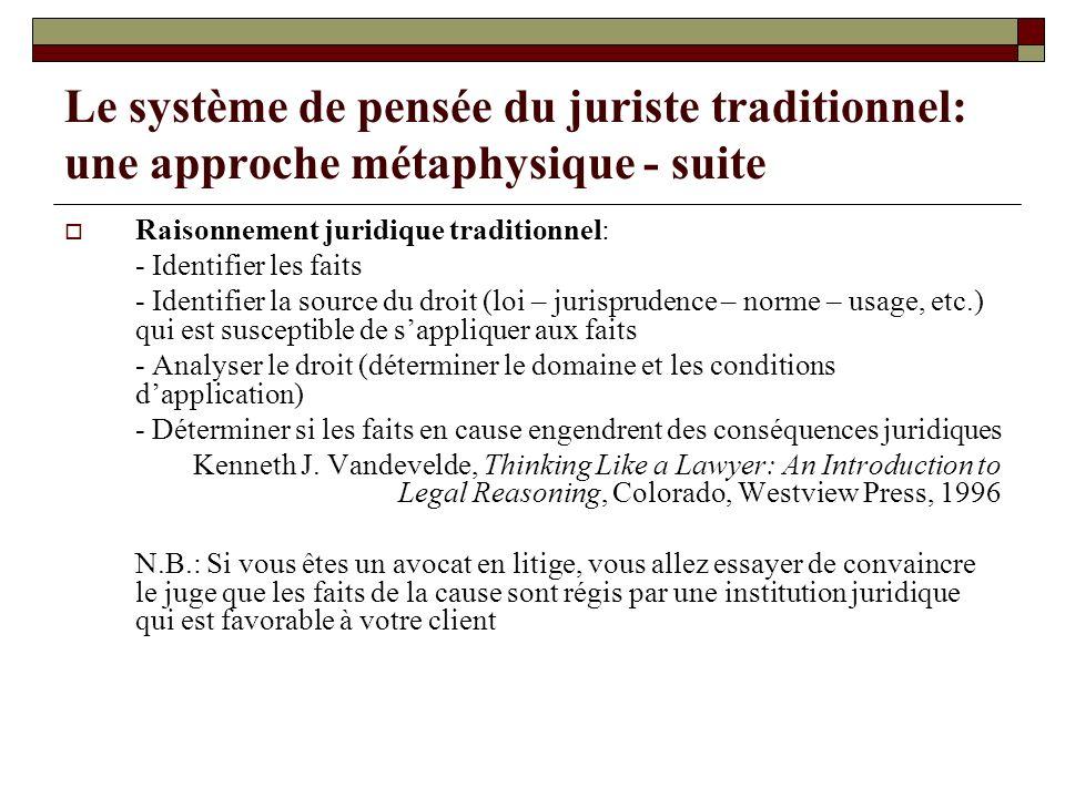 Le système de pensée du juriste traditionnel: une approche métaphysique - suite Raisonnement juridique traditionnel: - Identifier les faits - Identifi