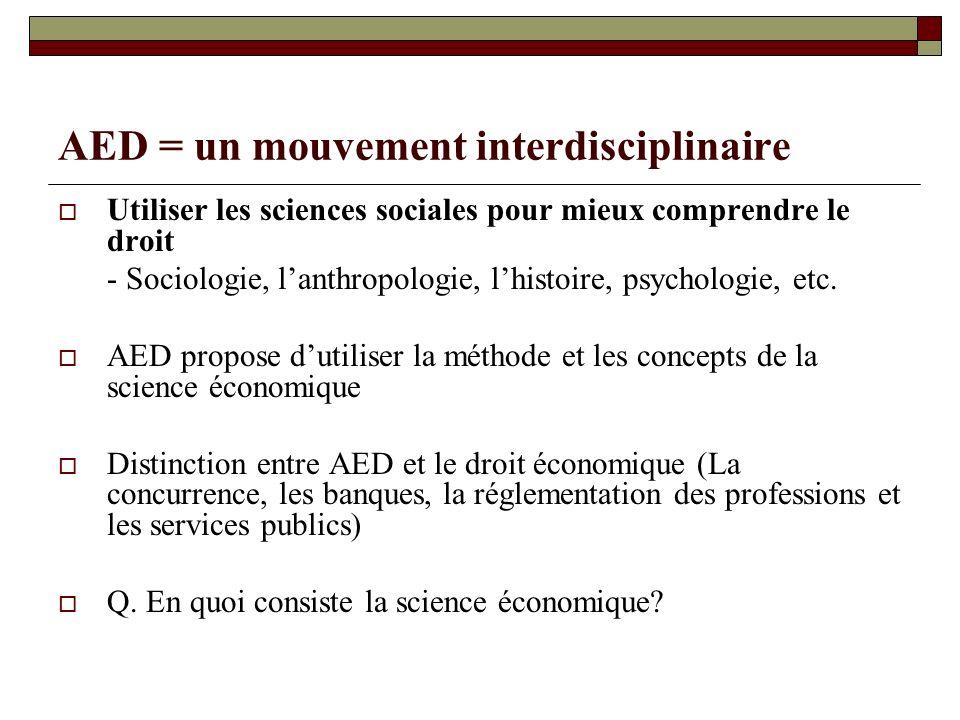 AED = un mouvement interdisciplinaire Utiliser les sciences sociales pour mieux comprendre le droit - Sociologie, lanthropologie, lhistoire, psycholog