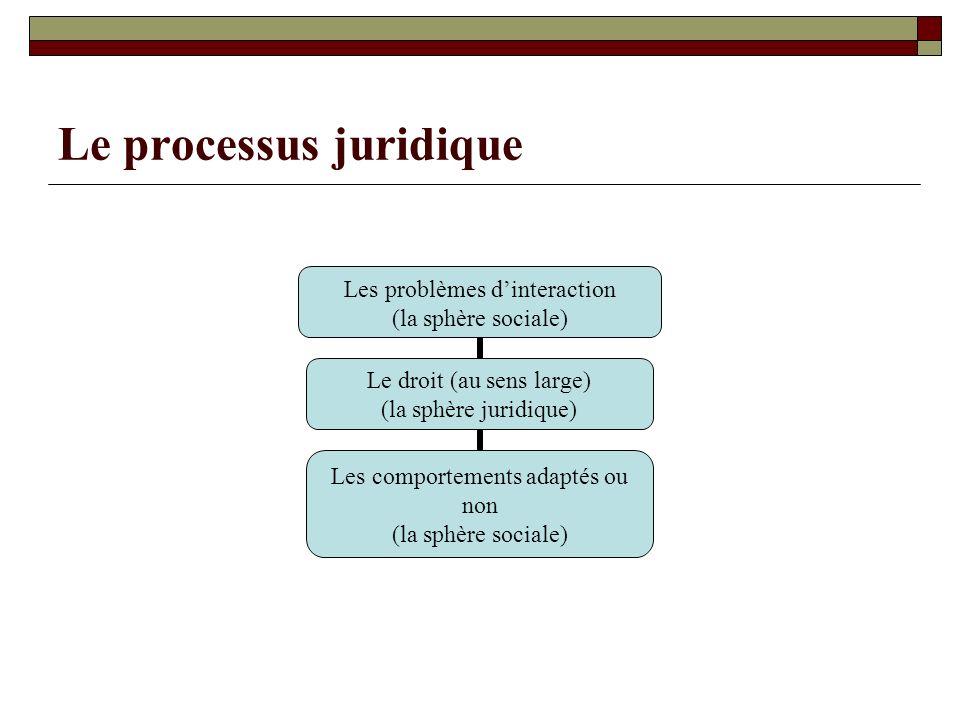 Le processus juridique Les problèmes dinteraction (la sphère sociale) Le droit (au sens large) (la sphère juridique) Les comportements adaptés ou non