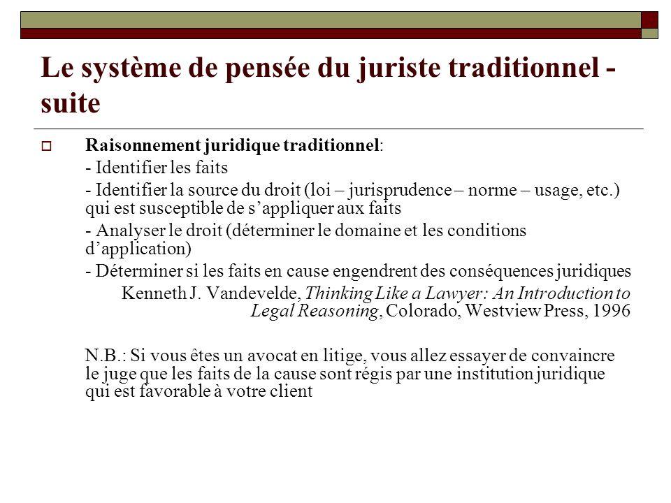 Le système de pensée du juriste traditionnel - suite Raisonnement juridique traditionnel: - Identifier les faits - Identifier la source du droit (loi