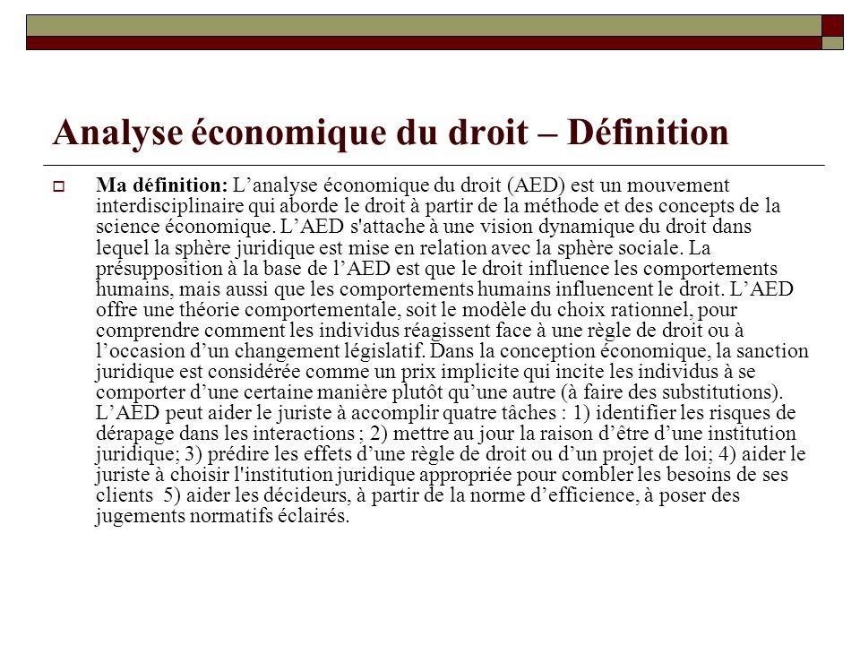Analyse économique du droit – Définition Ma définition: Lanalyse économique du droit (AED) est un mouvement interdisciplinaire qui aborde le droit à p