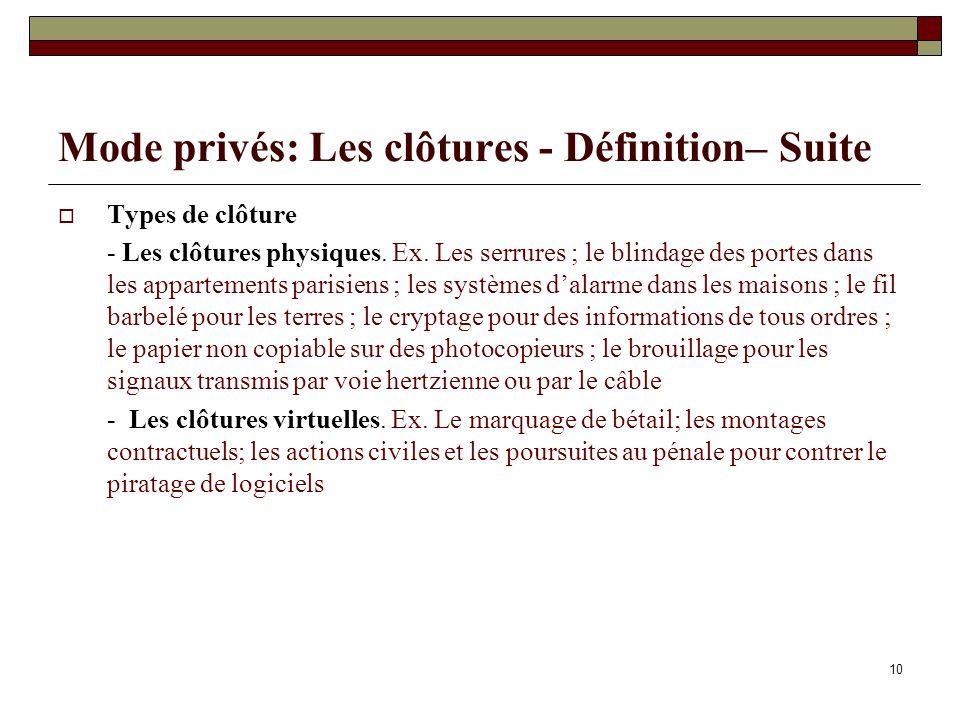 Mode privés: Les clôtures - Définition– Suite Types de clôture - Les clôtures physiques. Ex. Les serrures ; le blindage des portes dans les appartemen