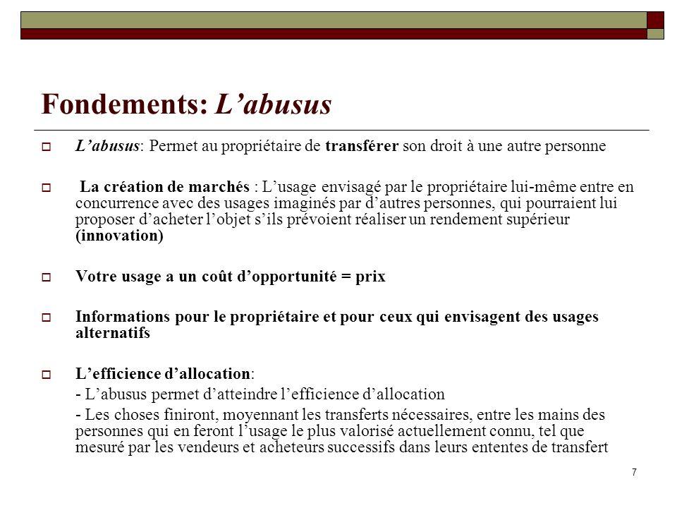 Fondements: Labusus Labusus: Permet au propriétaire de transférer son droit à une autre personne La création de marchés : Lusage envisagé par le propr