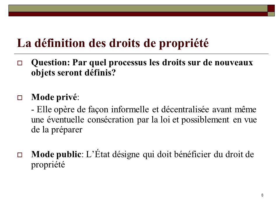 La définition des droits de propriété Question: Par quel processus les droits sur de nouveaux objets seront définis? Mode privé: - Elle opère de façon