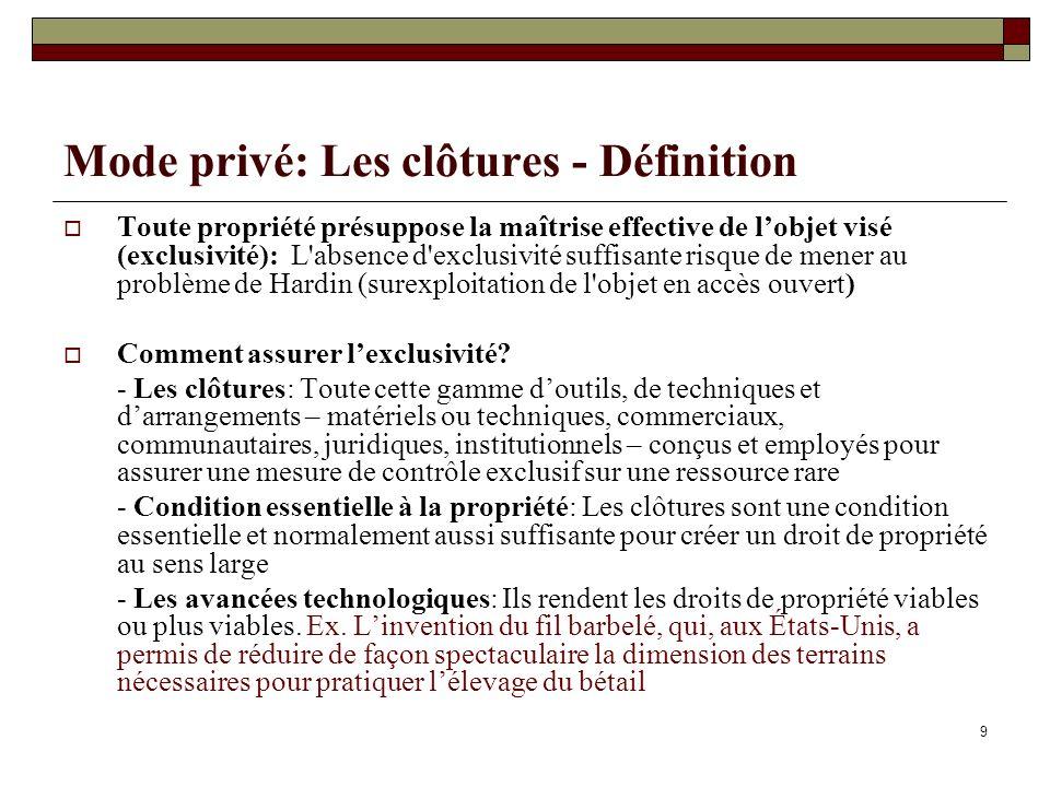 Mode privé: Les clôtures - Définition Toute propriété présuppose la maîtrise effective de lobjet visé (exclusivité): L'absence d'exclusivité suffisant