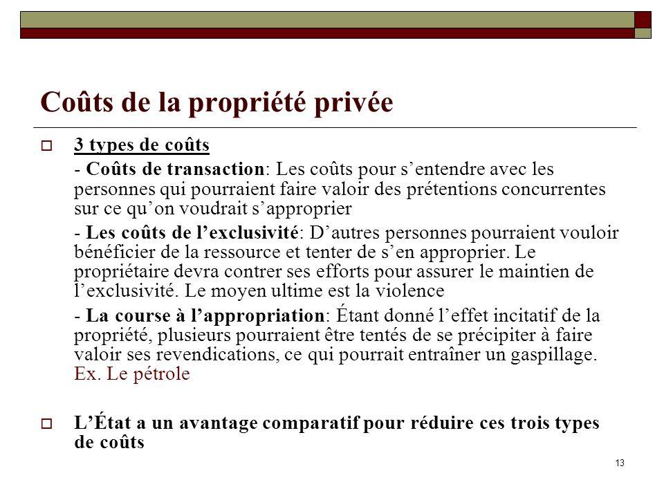 Coûts de la propriété privée 3 types de coûts - Coûts de transaction: Les coûts pour sentendre avec les personnes qui pourraient faire valoir des prétentions concurrentes sur ce quon voudrait sapproprier - Les coûts de lexclusivité: Dautres personnes pourraient vouloir bénéficier de la ressource et tenter de sen approprier.