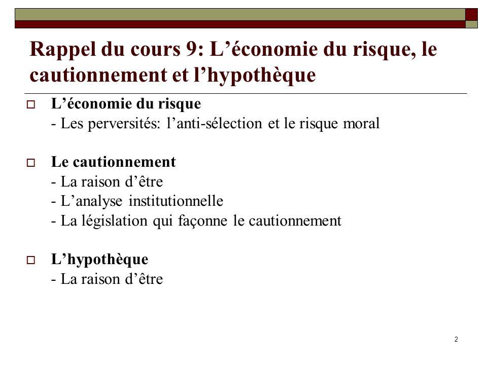 Rappel du cours 9: Léconomie du risque, le cautionnement et lhypothèque Léconomie du risque - Les perversités: lanti-sélection et le risque moral Le c