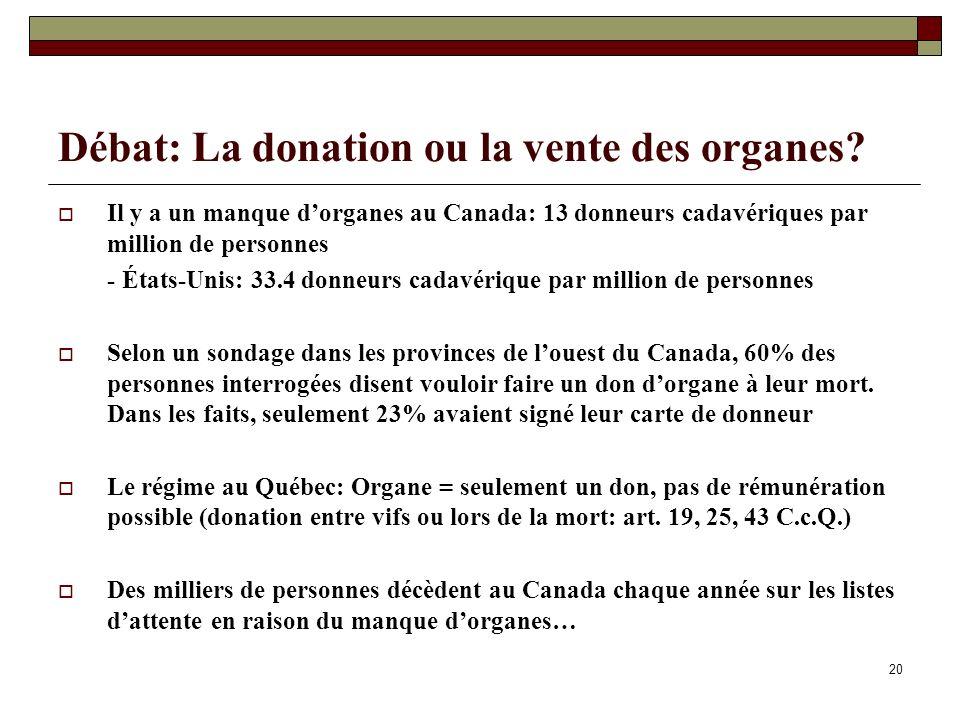 Débat: La donation ou la vente des organes? Il y a un manque dorganes au Canada: 13 donneurs cadavériques par million de personnes - États-Unis: 33.4