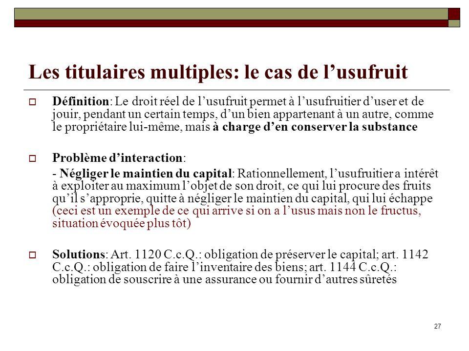 Les titulaires multiples: le cas de lusufruit Définition: Le droit réel de lusufruit permet à lusufruitier duser et de jouir, pendant un certain temps