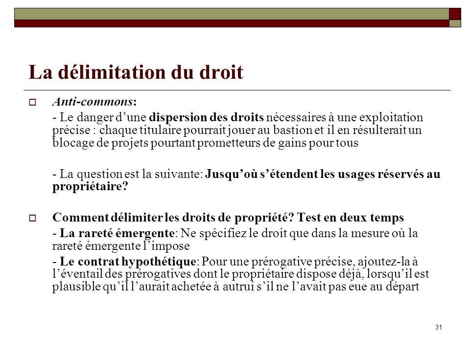 La délimitation du droit Anti-commons: - Le danger dune dispersion des droits nécessaires à une exploitation précise : chaque titulaire pourrait jouer