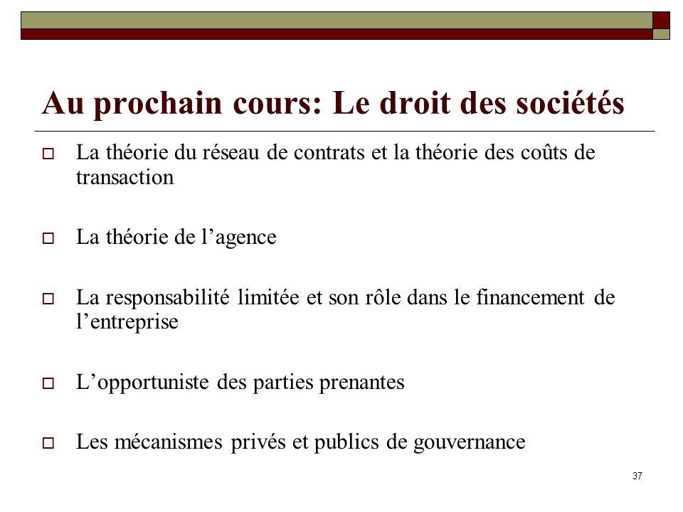 Au prochain cours: Le droit des sociétés La théorie du réseau de contrats et la théorie des coûts de transaction La théorie de lagence La responsabili
