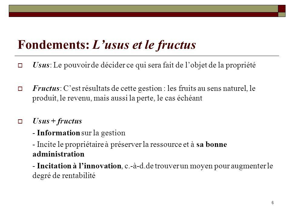 Fondements: Lusus et le fructus Usus: Le pouvoir de décider ce qui sera fait de lobjet de la propriété Fructus: Cest résultats de cette gestion : les