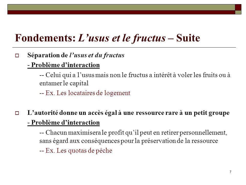 Fondements: Lusus et le fructus – Suite Séparation de lusus et du fructus - Problème dinteraction -- Celui qui a lusus mais non le fructus a intérêt à