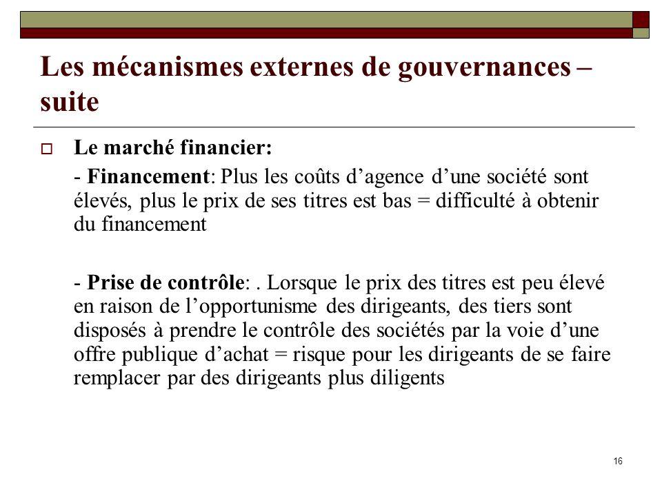 Les mécanismes externes de gouvernances – suite Le marché financier: - Financement: Plus les coûts dagence dune société sont élevés, plus le prix de ses titres est bas = difficulté à obtenir du financement - Prise de contrôle:.