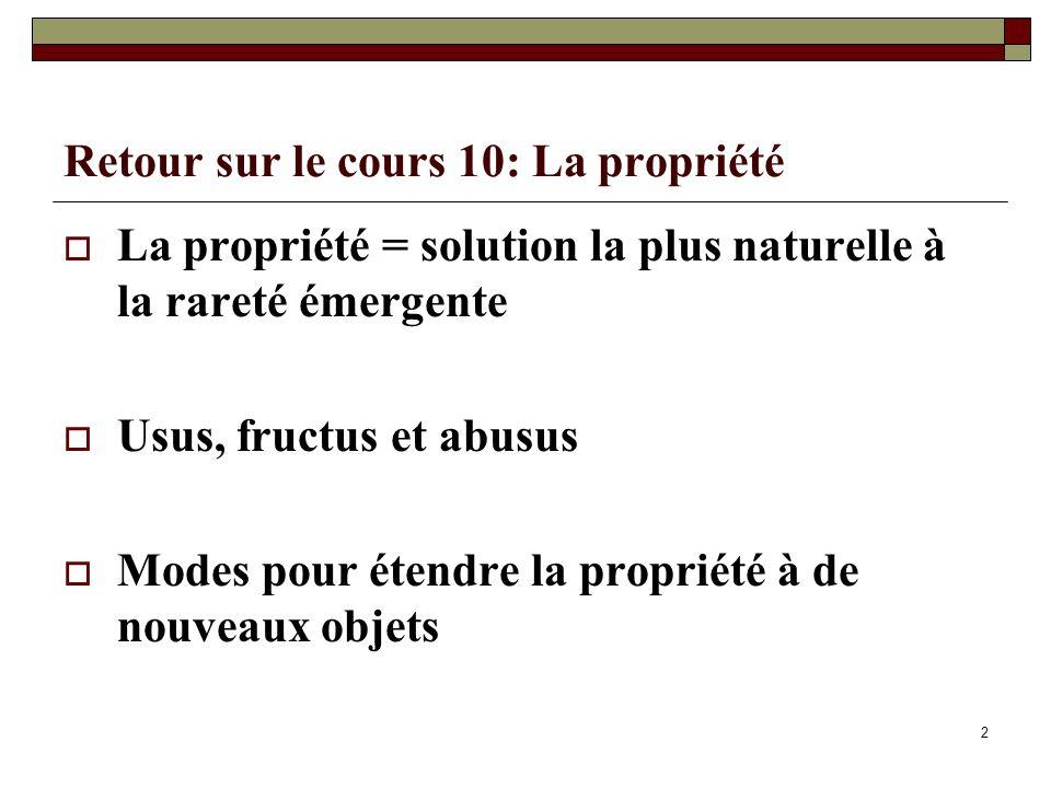 Retour sur le cours 10: La propriété La propriété = solution la plus naturelle à la rareté émergente Usus, fructus et abusus Modes pour étendre la propriété à de nouveaux objets 2