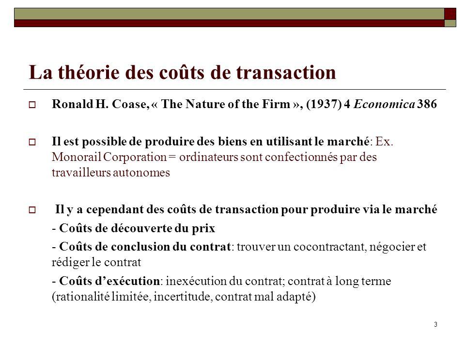 3 La théorie des coûts de transaction Ronald H.