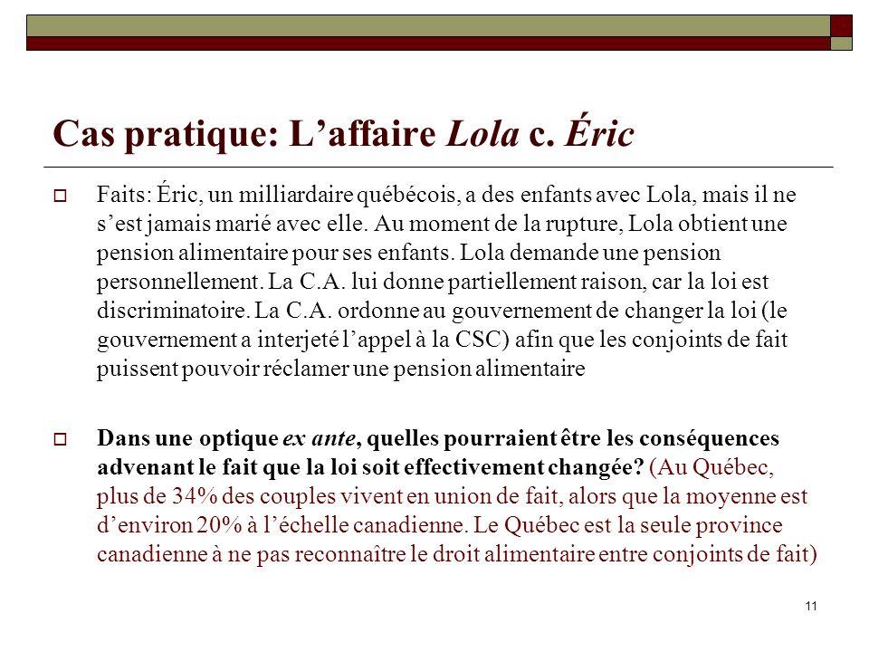 11 Cas pratique: Laffaire Lola c. Éric Faits: Éric, un milliardaire québécois, a des enfants avec Lola, mais il ne sest jamais marié avec elle. Au mom