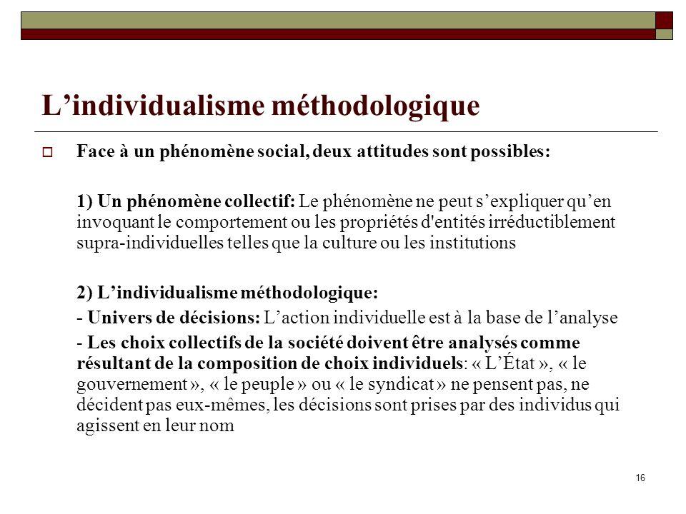 16 Lindividualisme méthodologique Face à un phénomène social, deux attitudes sont possibles: 1) Un phénomène collectif: Le phénomène ne peut sexplique