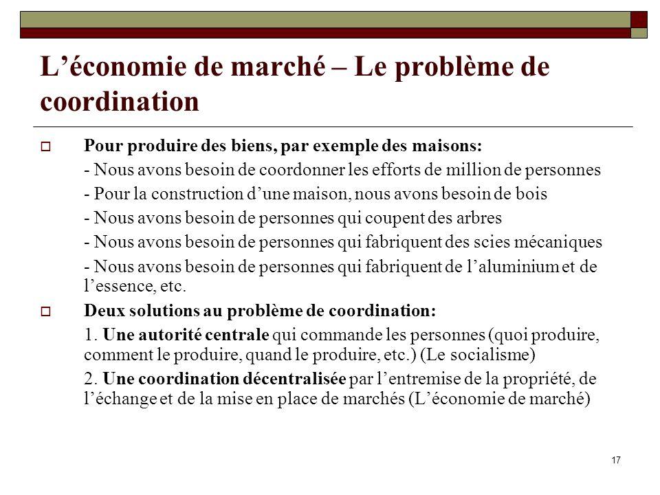 17 Léconomie de marché – Le problème de coordination Pour produire des biens, par exemple des maisons: - Nous avons besoin de coordonner les efforts d