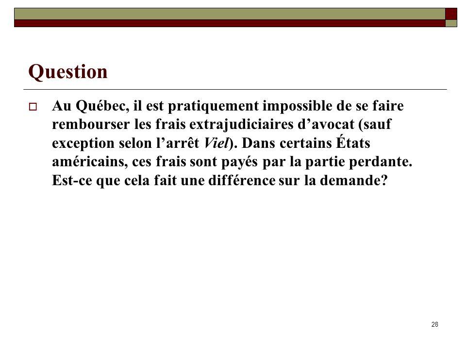28 Question Au Québec, il est pratiquement impossible de se faire rembourser les frais extrajudiciaires davocat (sauf exception selon larrêt Viel). Da