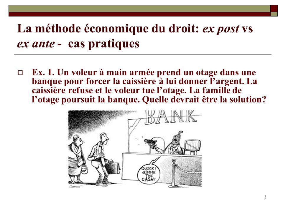 3 La méthode économique du droit: ex post vs ex ante - cas pratiques Ex. 1. Un voleur à main armée prend un otage dans une banque pour forcer la caiss