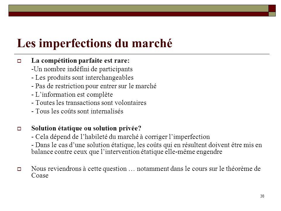 38 Les imperfections du marché La compétition parfaite est rare: -Un nombre indéfini de participants - Les produits sont interchangeables - Pas de res