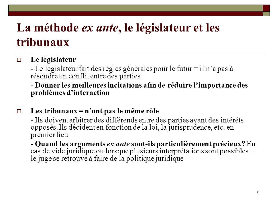 7 La méthode ex ante, le législateur et les tribunaux Le législateur - Le législateur fait des règles générales pour le futur = il na pas à résoudre u