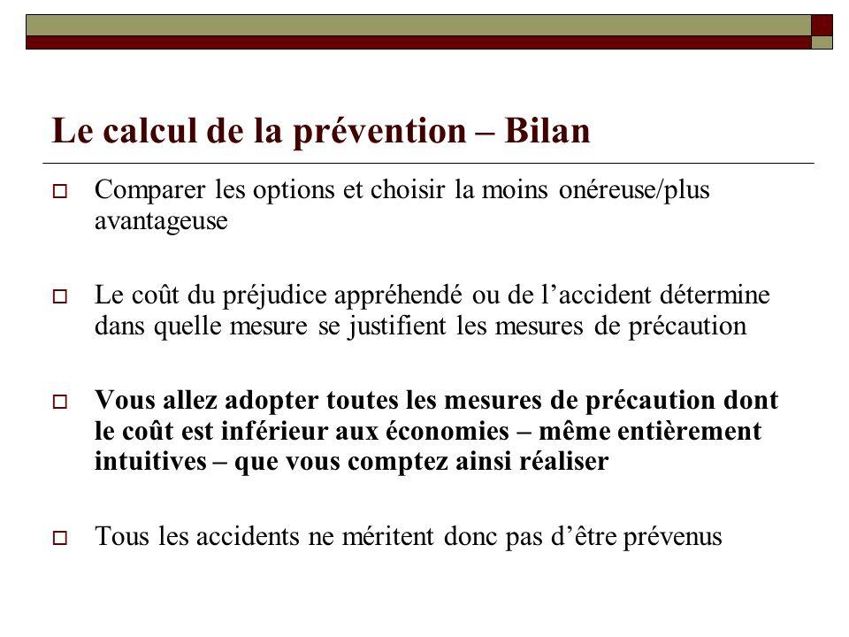 Le calcul de la prévention – Bilan Comparer les options et choisir la moins onéreuse/plus avantageuse Le coût du préjudice appréhendé ou de laccident