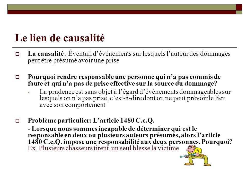 Le lien de causalité La causalité : Éventail dévénements sur lesquels lauteur des dommages peut être présumé avoir une prise Pourquoi rendre responsab