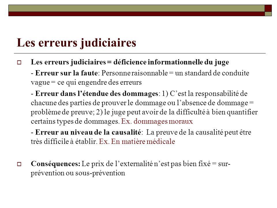 Les erreurs judiciaires Les erreurs judiciaires = déficience informationnelle du juge - Erreur sur la faute: Personne raisonnable = un standard de con