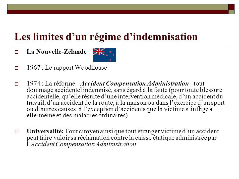Les limites dun régime dindemnisation La Nouvelle-Zélande 1967 : Le rapport Woodhouse 1974 : La réforme - Accident Compensation Administration - tout