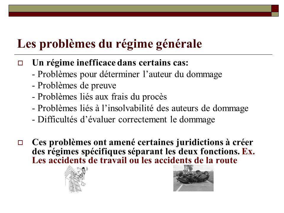 Les problèmes du régime générale Un régime inefficace dans certains cas: - Problèmes pour déterminer lauteur du dommage - Problèmes de preuve - Problè