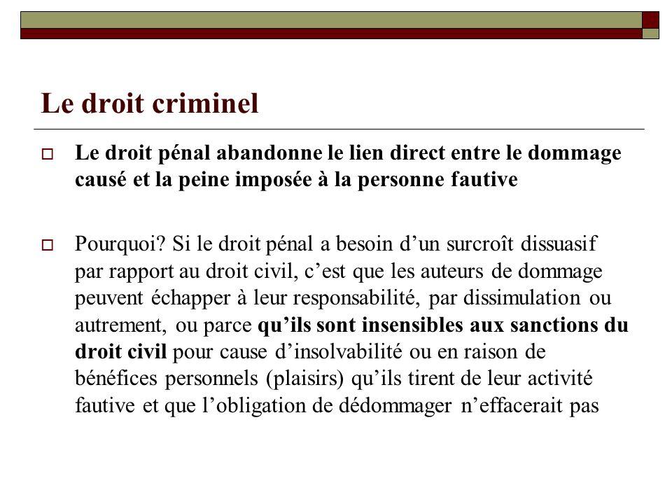 Le droit criminel Le droit pénal abandonne le lien direct entre le dommage causé et la peine imposée à la personne fautive Pourquoi? Si le droit pénal