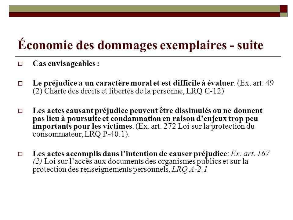 Économie des dommages exemplaires - suite Cas envisageables : Le préjudice a un caractère moral et est difficile à évaluer. (Ex. art. 49 (2) Charte de