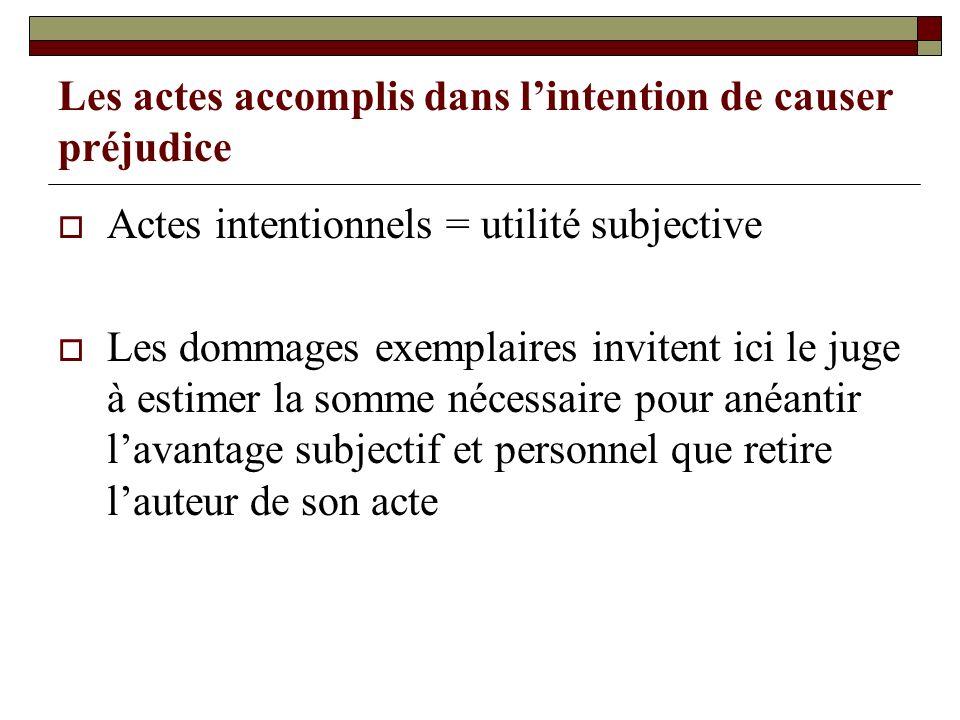 Les actes accomplis dans lintention de causer préjudice Actes intentionnels = utilité subjective Les dommages exemplaires invitent ici le juge à estim