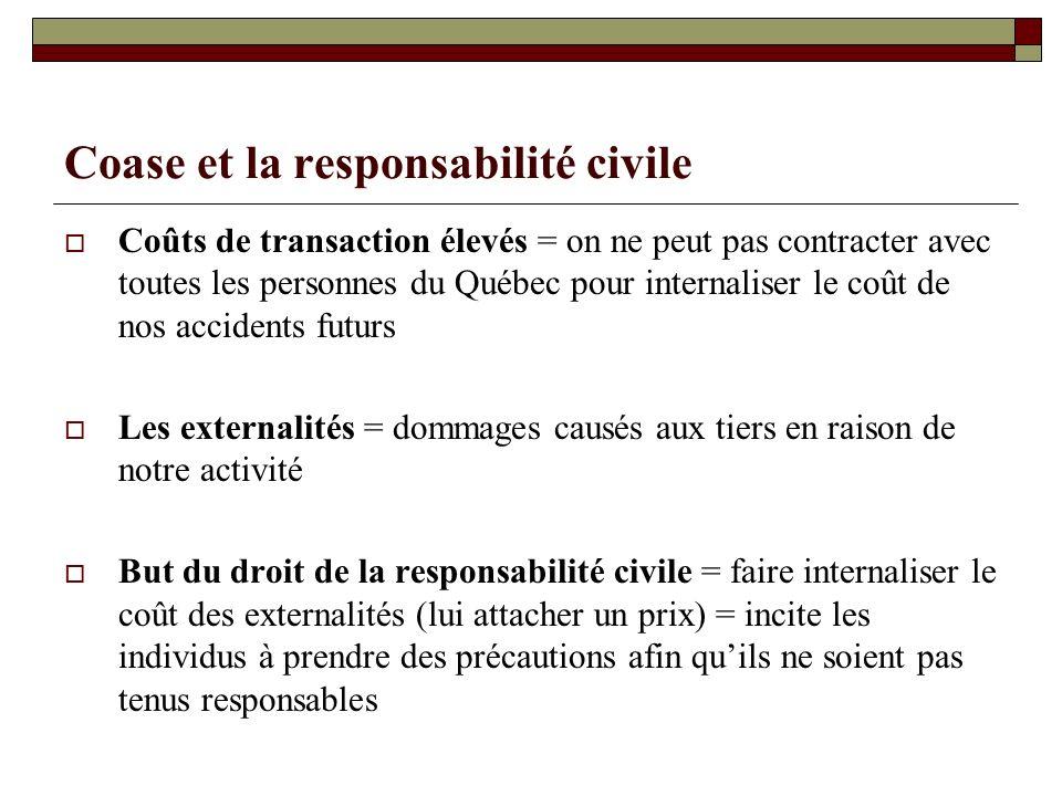 Coase et la responsabilité civile Coûts de transaction élevés = on ne peut pas contracter avec toutes les personnes du Québec pour internaliser le coû