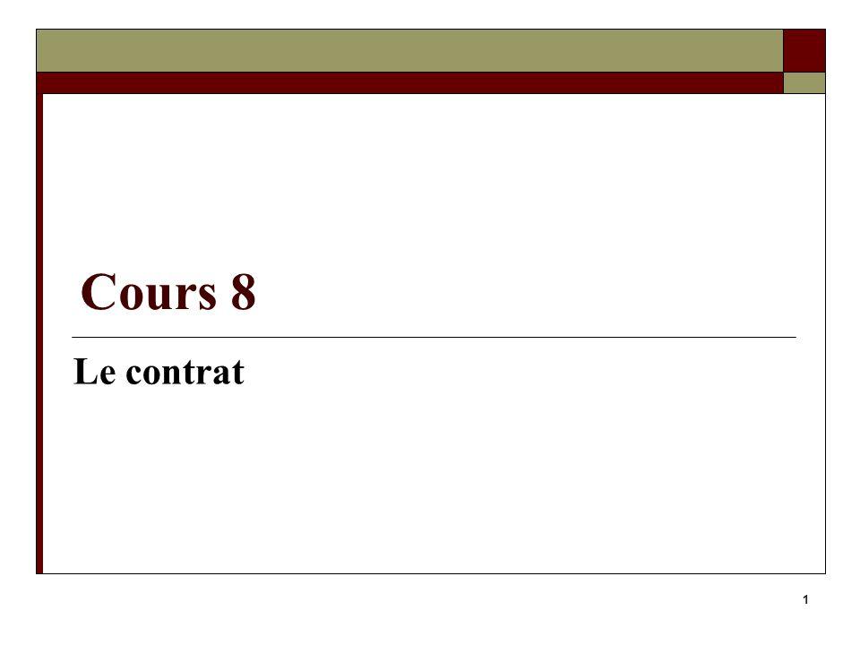 1 Cours 8 Le contrat