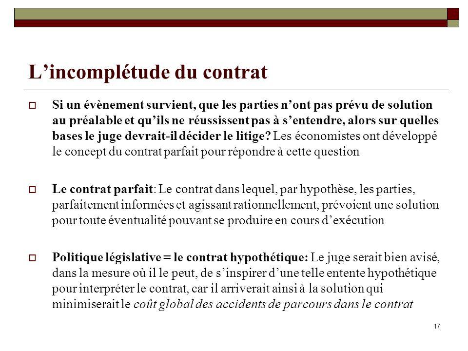 17 Lincomplétude du contrat Si un évènement survient, que les parties nont pas prévu de solution au préalable et quils ne réussissent pas à sentendre, alors sur quelles bases le juge devrait-il décider le litige.