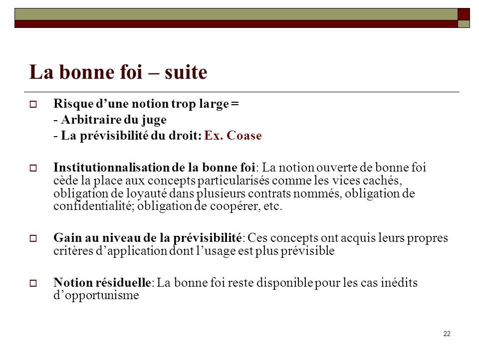 22 La bonne foi – suite Risque dune notion trop large = - Arbitraire du juge - La prévisibilité du droit: Ex.