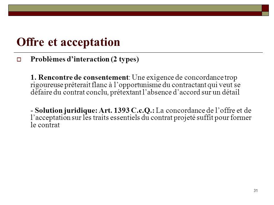 31 Offre et acceptation Problèmes dinteraction (2 types) 1.
