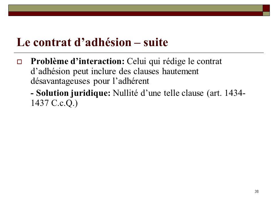 Le contrat dadhésion – suite Problème dinteraction: Celui qui rédige le contrat dadhésion peut inclure des clauses hautement désavantageuses pour ladhérent - Solution juridique: Nullité dune telle clause (art.