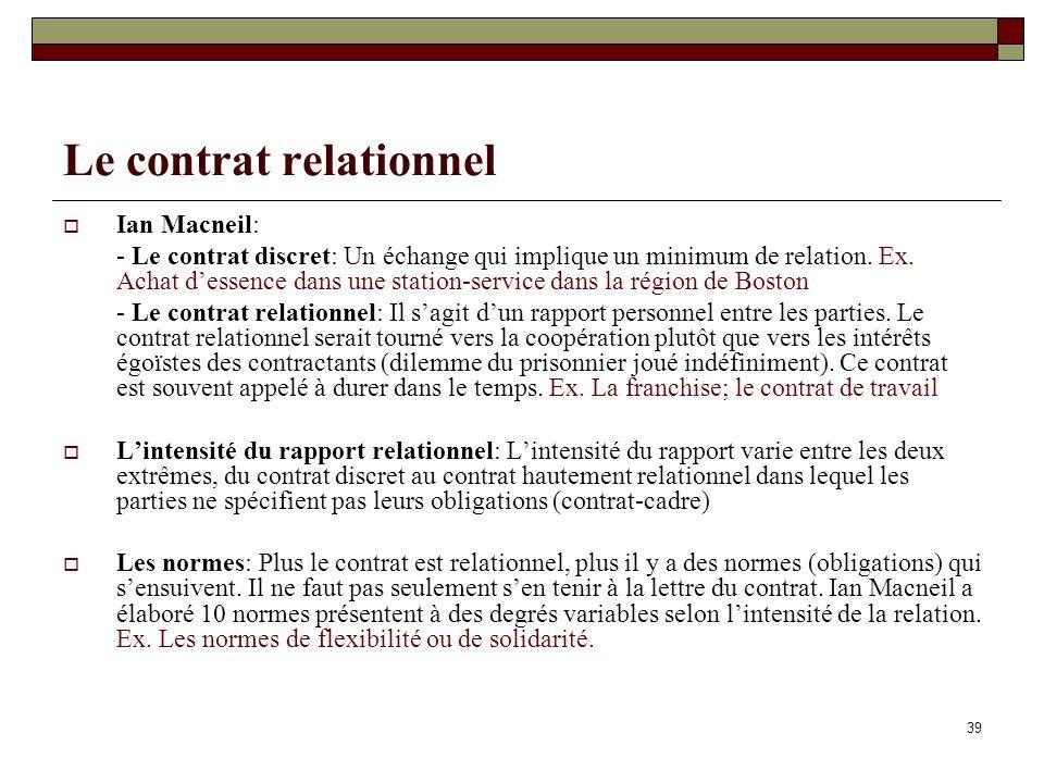 39 Le contrat relationnel Ian Macneil: - Le contrat discret: Un échange qui implique un minimum de relation.
