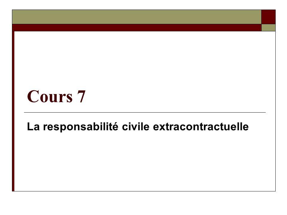 Cours 7 La responsabilité civile extracontractuelle
