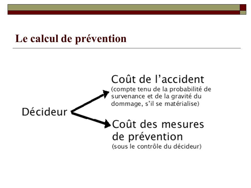 Le calcul de prévention
