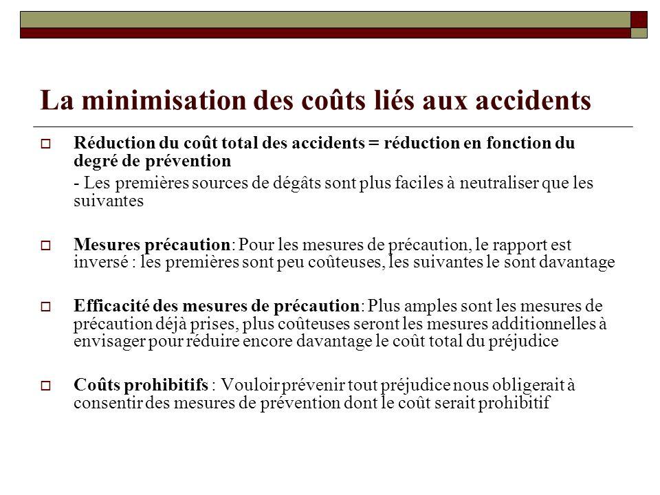 La minimisation des coûts liés aux accidents Réduction du coût total des accidents = réduction en fonction du degré de prévention - Les premières sour