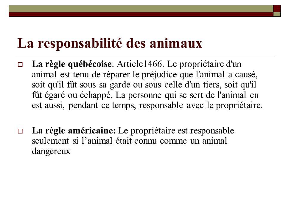 La responsabilité des animaux La règle québécoise: Article1466. Le propriétaire d'un animal est tenu de réparer le préjudice que l'animal a causé, soi