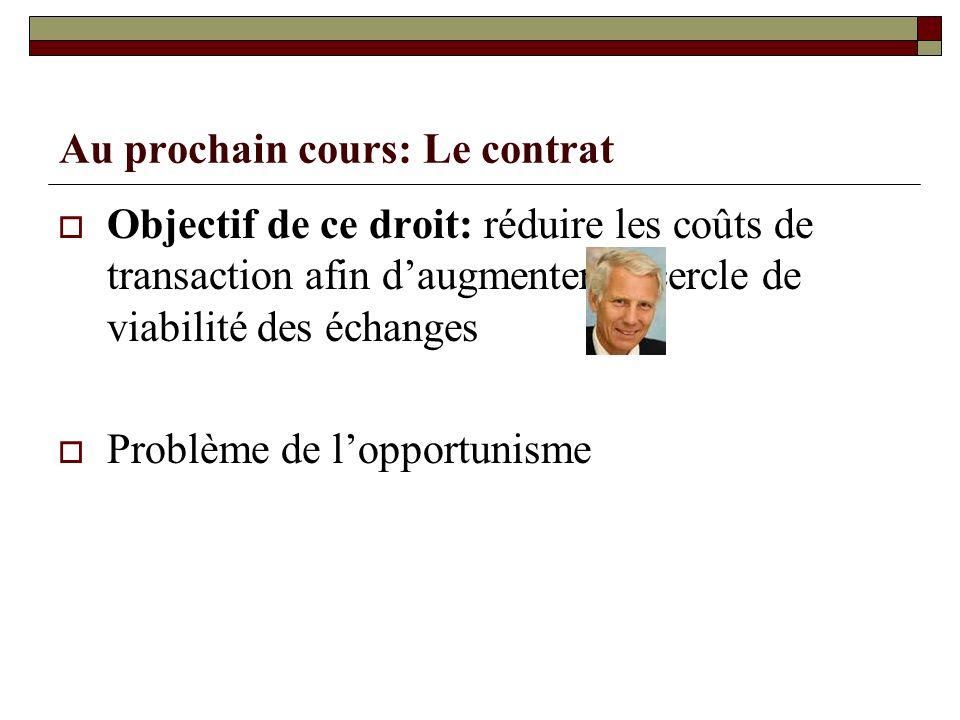 Au prochain cours: Le contrat Objectif de ce droit: réduire les coûts de transaction afin daugmenter le cercle de viabilité des échanges Problème de l