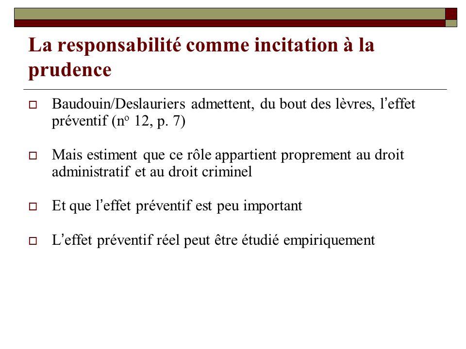 La responsabilité comme incitation à la prudence Baudouin/Deslauriers admettent, du bout des lèvres, leffet préventif (n o 12, p. 7) Mais estiment que