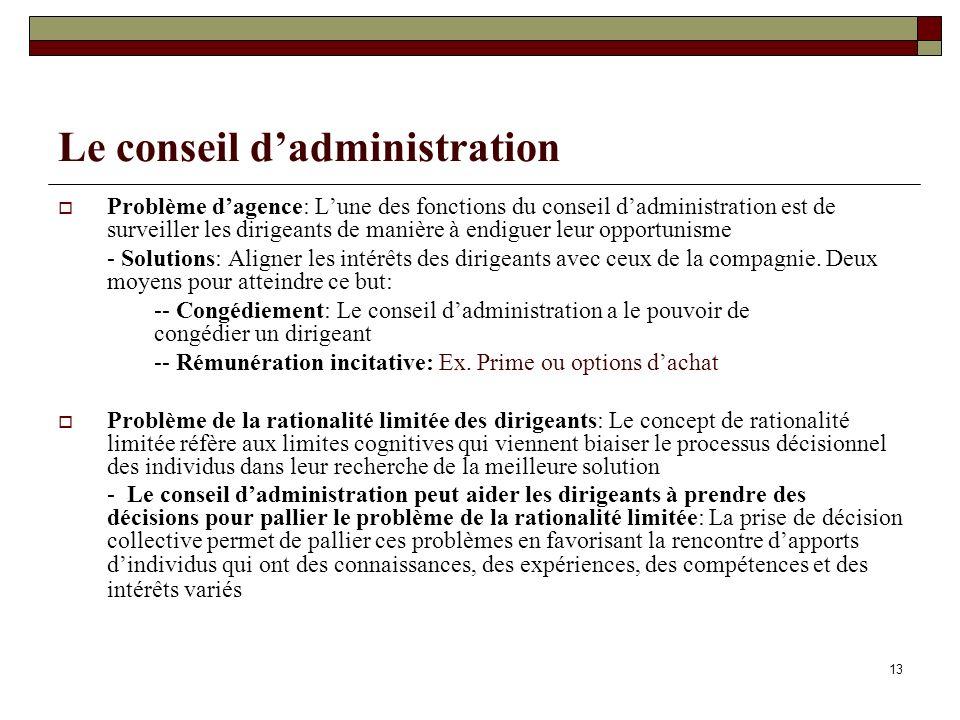 Le conseil dadministration Problème dagence: Lune des fonctions du conseil dadministration est de surveiller les dirigeants de manière à endiguer leur