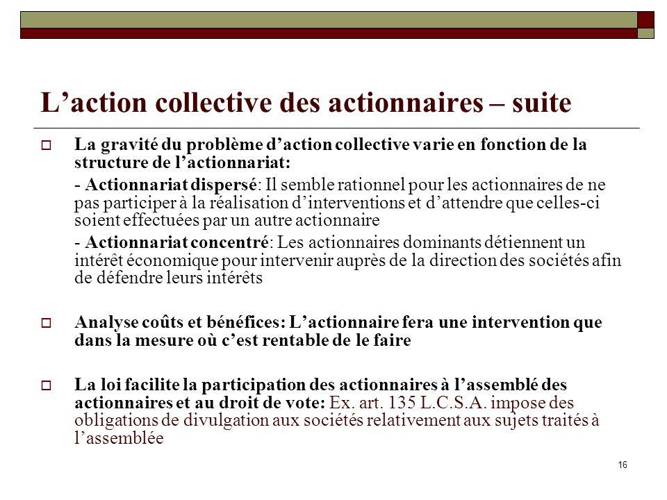 Laction collective des actionnaires – suite La gravité du problème daction collective varie en fonction de la structure de lactionnariat: - Actionnari